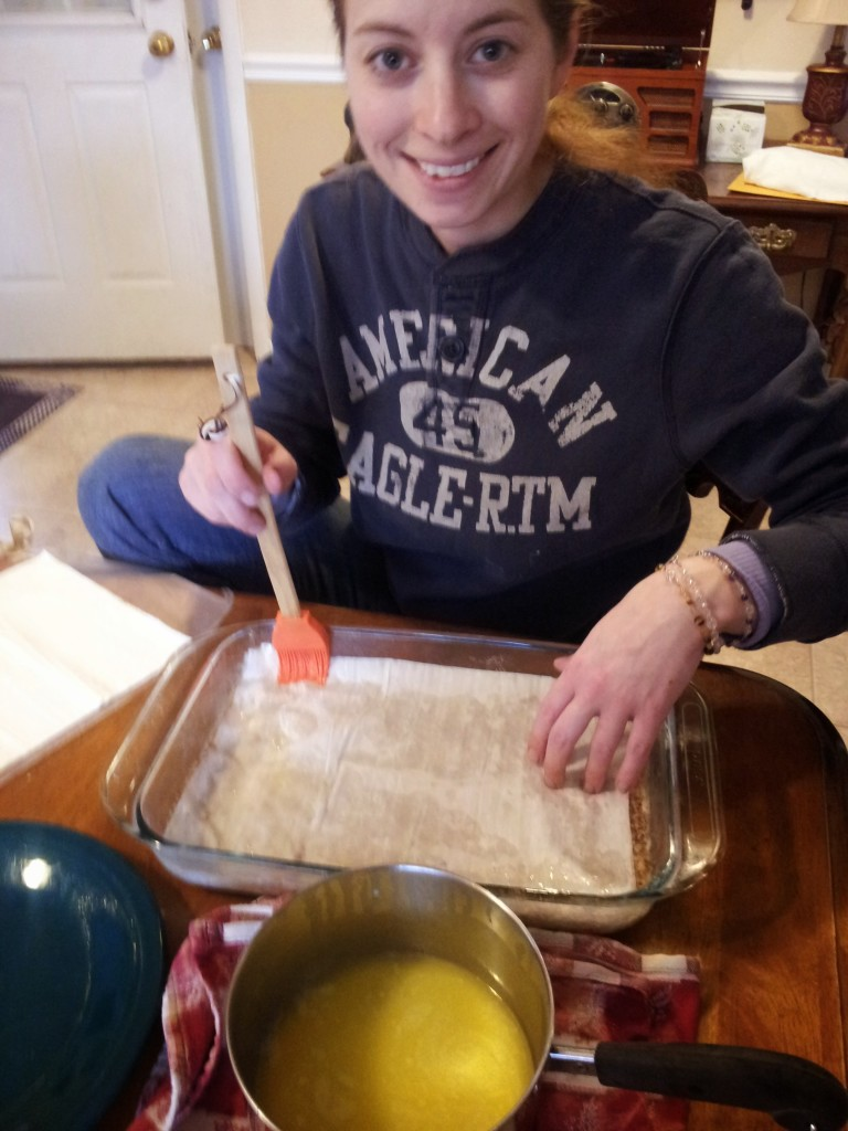 My daughter Michelene making Baklava!