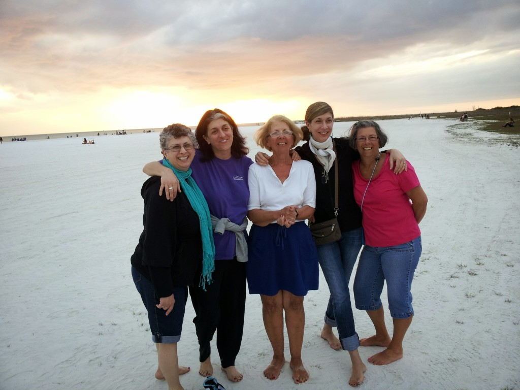 On the beach! From left, Me, Mary, Aunt KC, Cally, Joanie