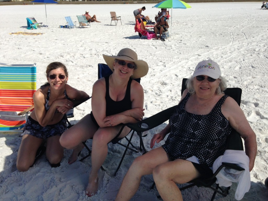 Are we beach beauties or what? Cally, Me, Mom. Photo by Mary Jamis