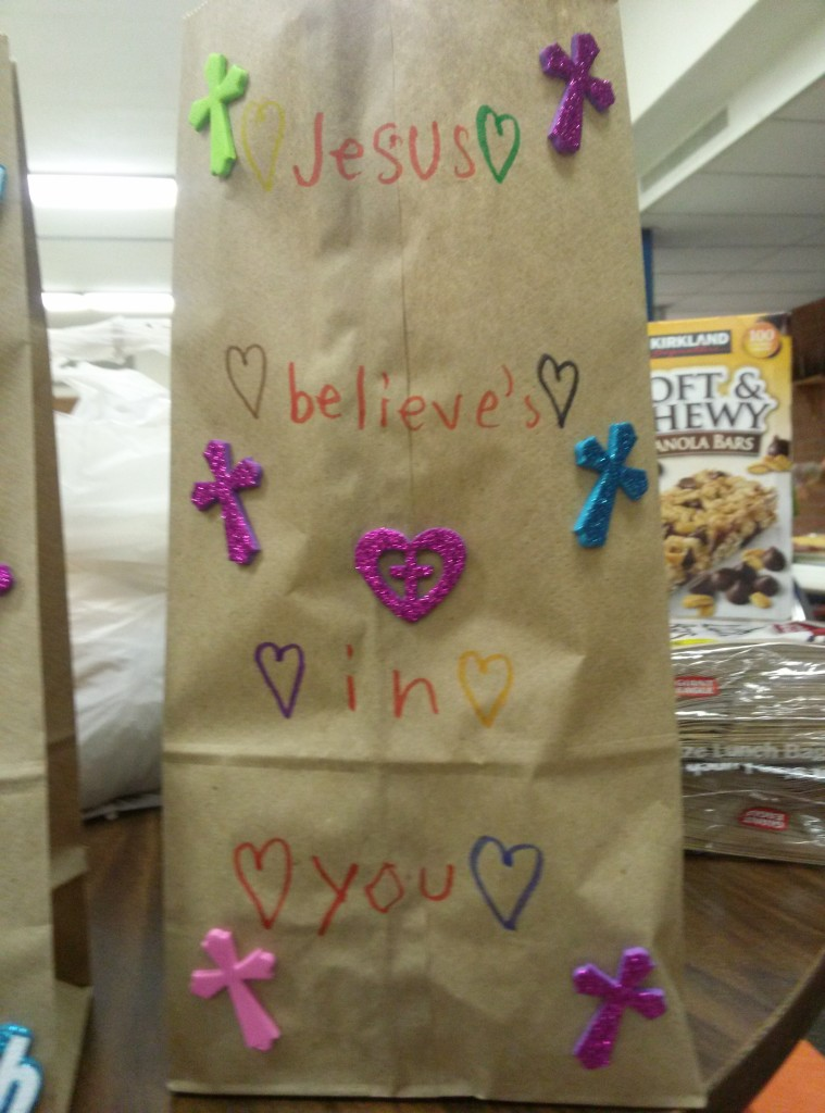 Lunch bags at church are beautiful