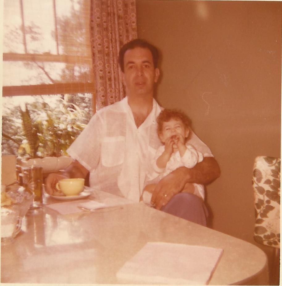 My Dad and I. Check out the cup of coffee and bread on the saucer!